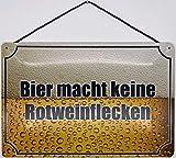 Blechschild Avec cordon de 30 x 20 cm - La bière ne fait pas de taches de vin rouge - Tôle chimique.