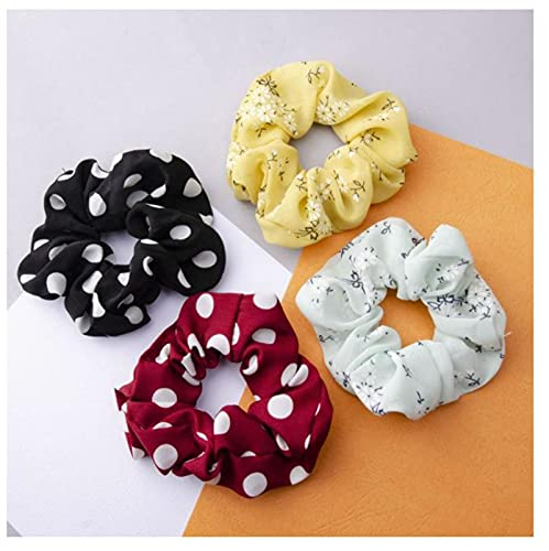 4 unids mujeres elástico bandas de pelo corbata gasa niñas impresión floral coletero coletero pelo simple verano accesorios
