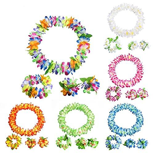 HAOSHICS 6 guirnaldas de flores hawaianas, coloridas pulseras de Leis, corona de flores hawaianas de seda falsa para playa, verano, piscina, fiesta, eventos festivos, suministros (color 3)