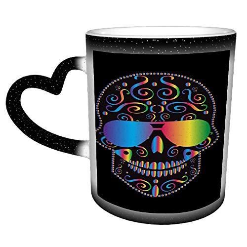 Schädel-Symbol-Farbverlauf mit Sonnenbrille Regenbogenfarbe Sternenhimmel Farbwechselbecher Keramik wärmeempfindlicher Farbwechselbecher, Farbwechselbecher