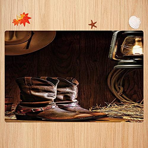 Alfombra de baño Antideslizante,Western, Authentic Western Riding Tools Zapatos en Vintage Ranch...