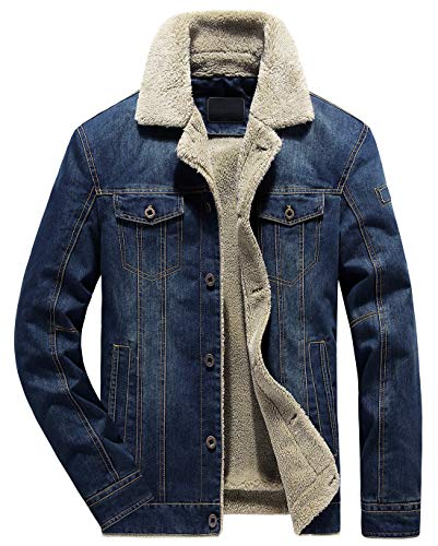 chouyatou Men's Classic Button Front Rugged Sherpa Lined Denim Trucker Jackets (X-Large, Dark Blue)