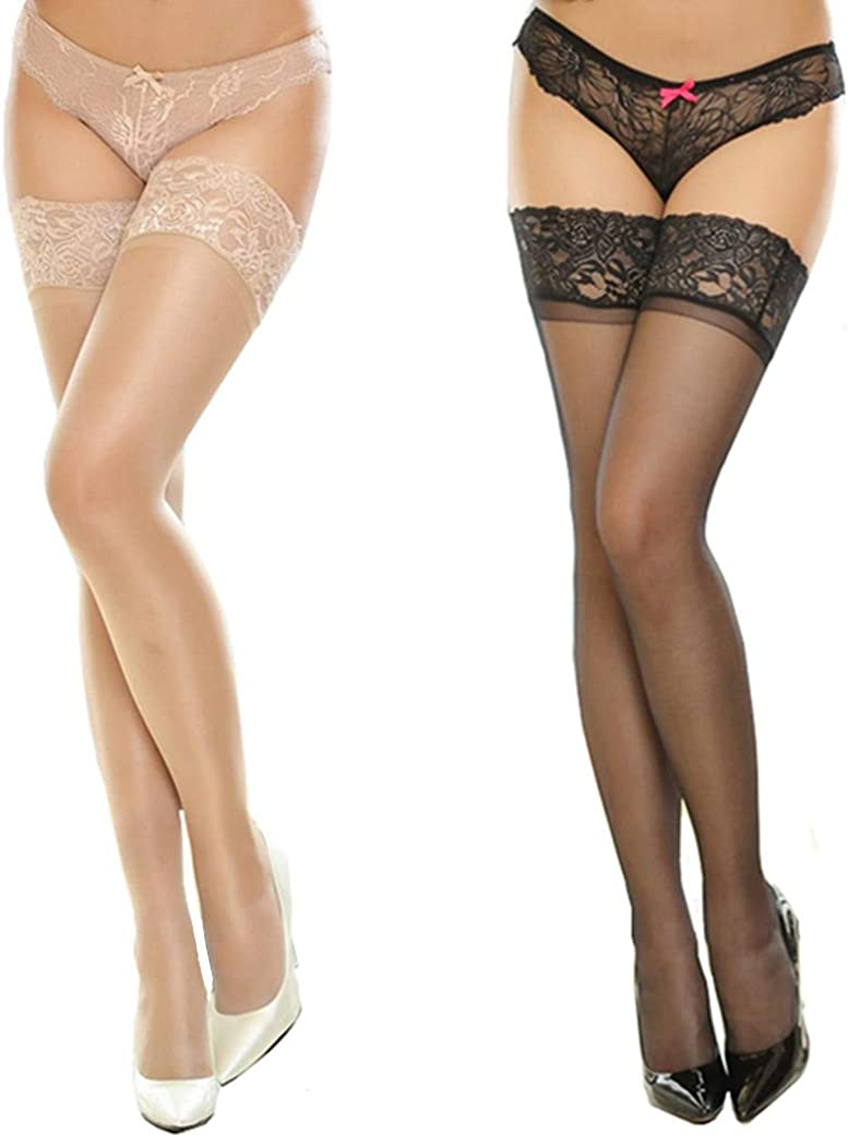 lifevv Women's 2 Pairs Lace Top Thigh Highs Stockings Silicone Hold up Sheer Stockings