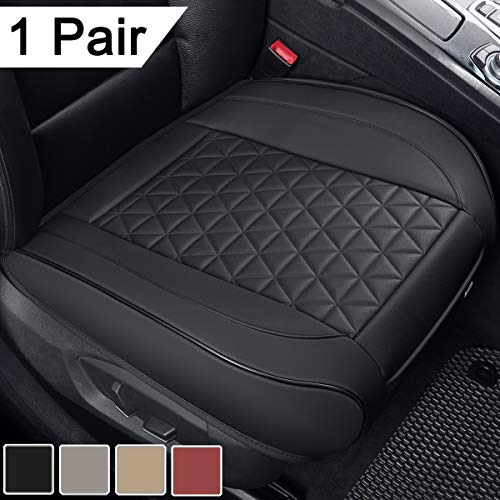 Black Panther 1 Pair Luxury PU Leather Car Seat Covers Protectors for Front Seat Bottoms,Compatible with 90% Vehicles (Sedan SUV Truck Mini Van) - Black (21.26×20.86 Inches) Missouri