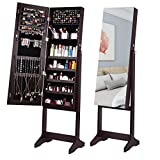 ORAF Jewelry Cabinet, Jewelry Armoire Organizer Standing Jewelry Box with Full Body Mirror and Large Storage Lockable Wooden