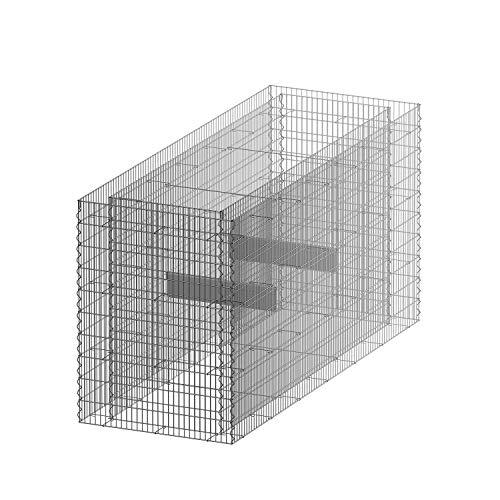 bellissa Gabionen-Hochbeet Premium 4-Eck - 95596 - Steinkorb-Pflanzkübel rechteckig - Bausatz inkl. Trennfolie - 200 x 75 x 100 cm