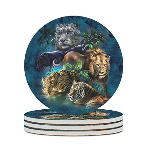 Posavasos de cerámica con base de corcho, diseño de tigre, leopardo, tigre, león, color blanco, 6 unidades
