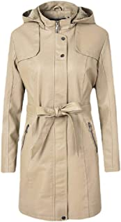 Howely Womens Fall Winter Slim Thick Fleece Mid-Long Hood Leather Trench Coat