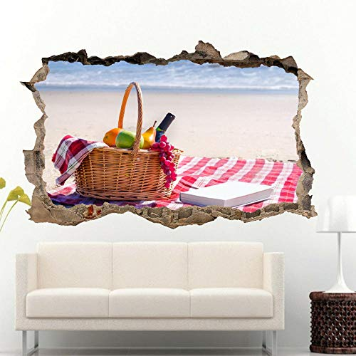 HQSM Pegatinas de pared Playa cesta de frutas pegatinas de pared calcomanías murales sala de arte 3D decoración de la oficina