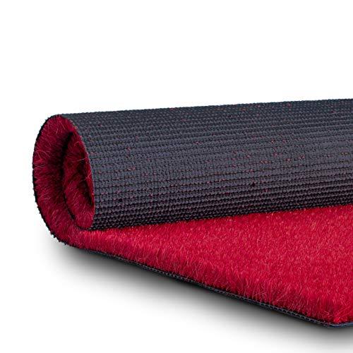 casa pura Gazon Synthétique Extérieur - Herbe Synthetique   Fausse Pelouse Coloré   Poils Doux 25mm Résistant UV & Imperméable   pour Extérieur, Balcon, Terrasse   Rouge - 200x150 cm