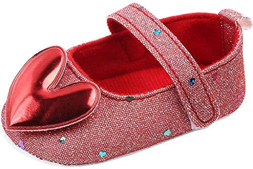 BaojunHT Neugeborenes Baby Mädchen erste Wanderschuhe Herz Anti-Rutsch-Weiche Sohle Mary Jane Wohnungen Glitter Brautkleid Prinzessin (Red,12-15 Months)