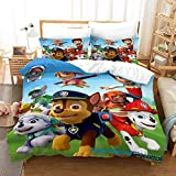Ntioyg Paw Patrol Team Paw Toddler Super Soft Kids Bedding Set, Great for Boys and Girls 3 Piece Queen Size Preschool, Or Kindergarten - Fits Sleeping Toddlers and Young Children