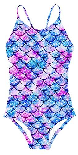 RAISEVERN Girls Over Print Beach Pool One-Piece Swimsuits Sleeveless Swimwear Bathing Suit 7-8 Years Unicorn