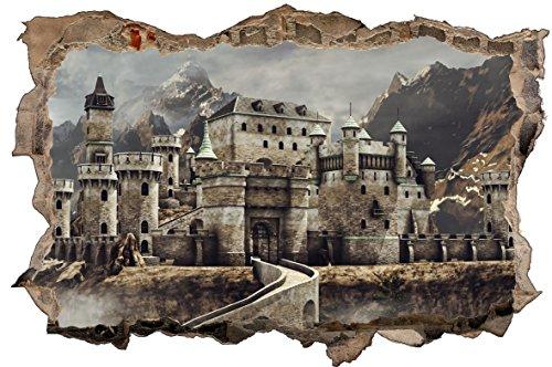 DesFoli Ritter Burg Schloss 3D Look Wandtattoo 70 x 115 cm Wanddurchbruch Wandbild Sticker Aufkleber D620