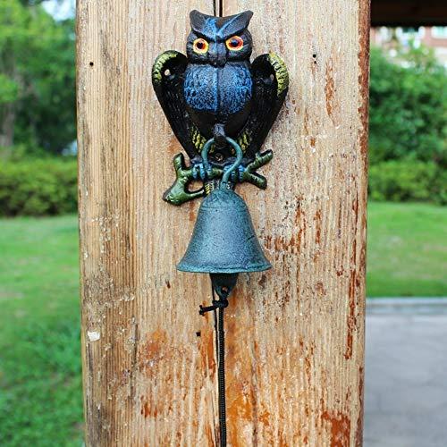 LBYLYH Decoratief Object Voor Thuis Moderne Creatieve IJzeren Tuin Binnenplaats Outdoor Uil Deurbel Hand Bell Retro Wanddecoratie Kids Muurdecoratie