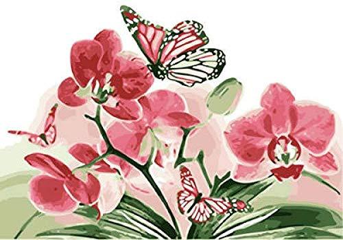 Zaosan DIY Kit de Pintura al óleo por números para la decoración del hogar, Restaurante, Bar, casa, 40 x 50 cm, sin Marco, Mariposa y orquídea (2)