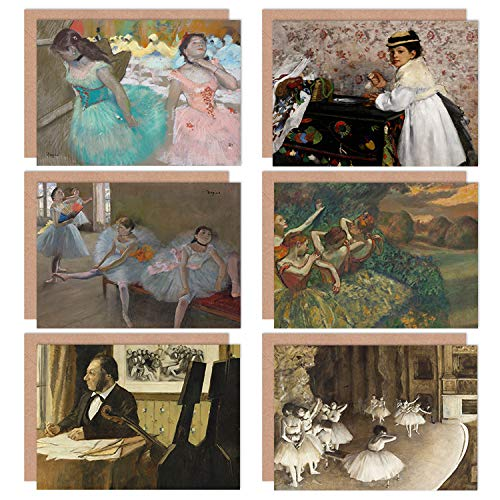 Edgar Degas Ballet Rehearsal Stage Dancers Classroom Masked Girls Fine Art Greeting Card Pack of 6 B�hne T�nzer Maske M�dchen
