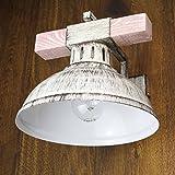Geschmackvolle Wandleuchte in Shabby Weiß Holzfarben Vintagestil 1x E27 bis zu 60 Watt 230V aus Metall & Holz Schlafzimmer Flur Wohnzimmer Esszimmer Lampen Leuchte innen Wandlampe