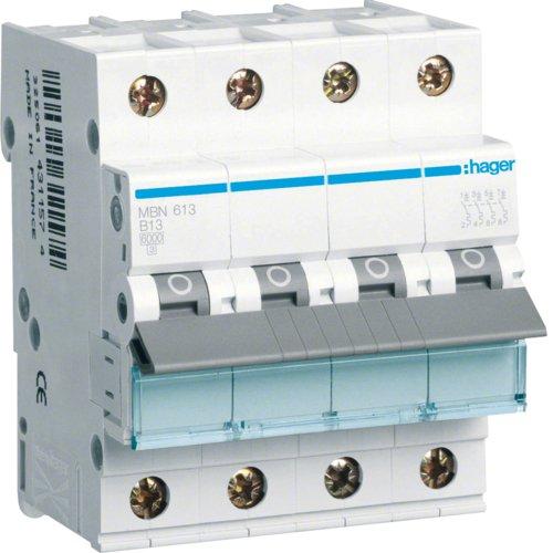 Hager MBN613 LS-Schalter 3P+N 6kA B-13A 4M