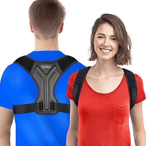 Gritin Corrector de Postura, Corrector de Postura Espalda Hombro para Hombre y Mujer Ajustable Faja Espalda Recta Soporte Transpirable Ligero Alta Elasticidad para Aliviar Dolor y Mejorar Postura