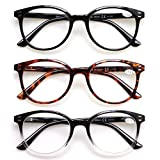 3 Pack Reading Glasses Spring Hinge Stylish Readers Black/Tortoise for Men and Women (3 Mix, 4.0)