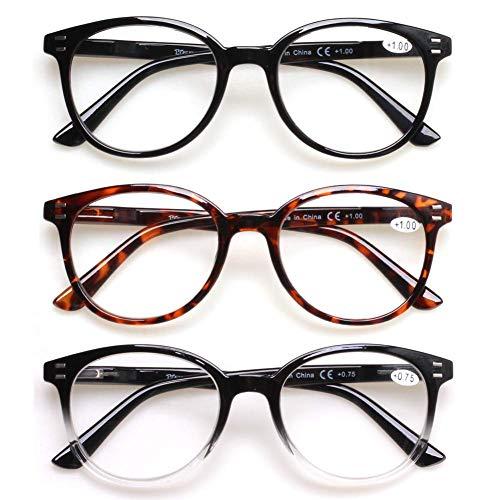 3 Pack Reading Glasses Spring Hinge Stylish Readers Black/Tortoise for Men and Women (3 Mix, 3.5)