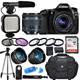 Canon EOS 80D Digital SLR Camera with Canon EF-S 18-55mm f/3.5-5.6 is STM Lens + Video LED Light + Shotgun Microphone + Sandisk 32GB SDHC Memory Card, Camera Bag (Complete Video Bundle)