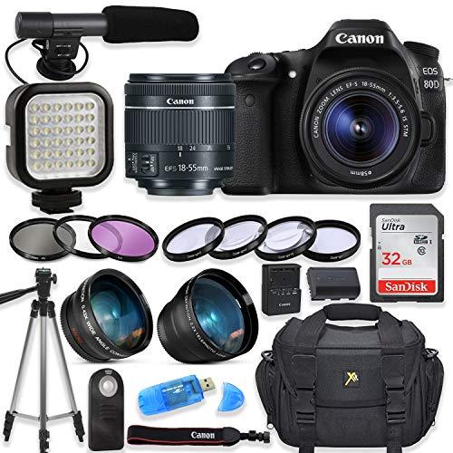 Canon EOS 80D Digital SLR Camera with Canon EF-S 18-55mm f/3.5-5.6 is STM Lens + Video LED Light + Shotgun Microphone + Sandisk 32GB SDHC Memory Card, Camera Bag (Complete Video Bundle)