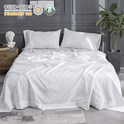 Simple&Opulence Belgian Linen Sheet Set 4PCS Stone Washed Solid Color(King,White)