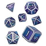 Set de Dados para Dragones y Mazmorras, 7 Piezas D&D Poliédricos Dice Set de Metal Sólido de D4 D6 D8 2xD10 D12 D20 Dados de Esmalte para Juegos de rol RPG DND (Chrome - Blue & Purple)