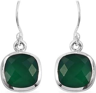 Pendientes de plata de ley para mujeres, pendientes de gota, aretes de ónix verde con cojines, pendientes colgantes Plata Aretes, Sterling Silver Earrings for Women