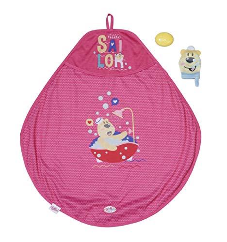 Zapf Creation 830635 BABY born Bath Kapuzenhandtuch & Schwamm - pinkes Puppenhandtuch mit Waschlappen und Spielseife