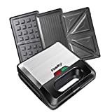 Vsadey Waffle Maker, 3-in-1 Sandwich Maker Waffle Iron and Panini Press Grill with Non-stick Coating, Detachable Plate, LED Operating Indicator, Cool Touch Handle