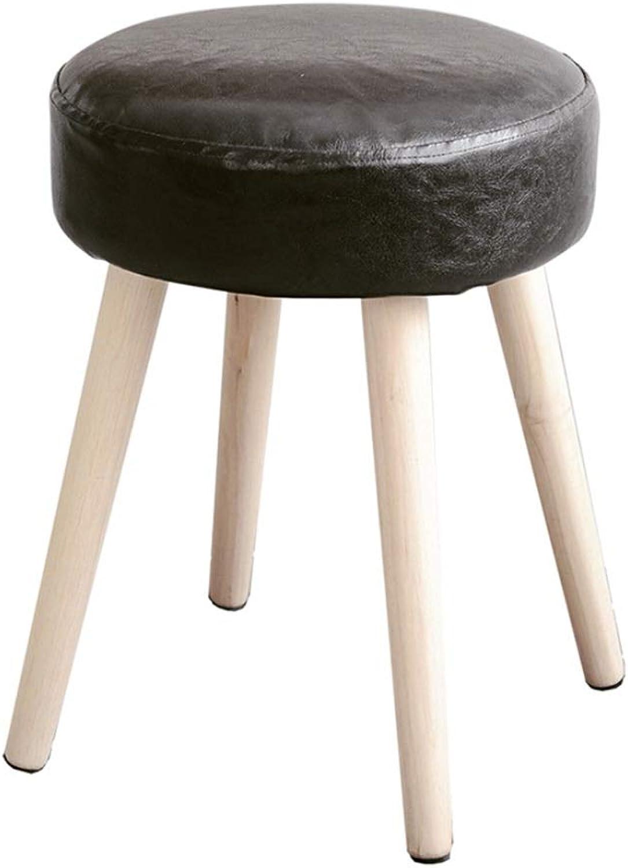Mini Stool Solid Wood Dressing Stool Oak Furniture Small Apartment Nordic Modern Minimalist Soft Makeup Stool 4 Legs and Anti-Slip Mat (Size   32  32cm)