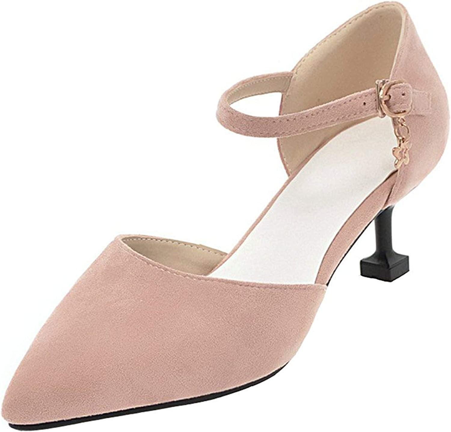 Gcanwea Women's Dressy Faux Suede Buckle Ankle Strap Pointed Toe Kitten Heels Sandals Casual Simple Ladies Stylish Classic Skinny Breathable Comfortable Sexy Elegant Flexibility Pink 5 M US Sandals