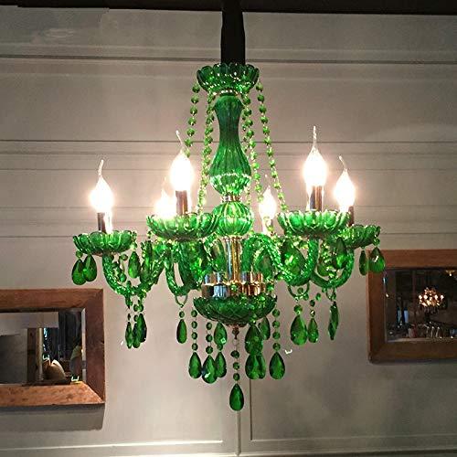 KAIBINY YY Crystal LED Verde Moderna de la lámpara Enciende la lámpara for Comer Techo de la Sala del Accesorio Ligero de la lámpara Pendiente de Interior Decorativo del hogar
