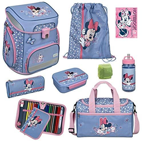 Mädchen Schulranzen-Set 9tlg. Scooli Easy FIT Ranzen 1. Klasse mit Sporttasche Disney Minnie Mouse MITW8255 Schultaschen Komplett-Set