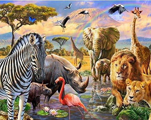 Pintura por números para adultos y niños, animales del arco iris en el pastizal – DIY pintura digital por números Kits sobre lienzo