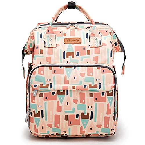 GJPSXTY Mochila para pañales, mochila para pañales, mochila para bebé, con cuna de viaje y cambiador, gran capacidad, con conector USB, bolsa de bebé con ganchos para cochecito resistente al agua 9