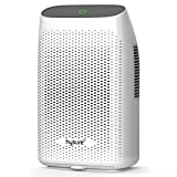 Hysure Upgraded 2000ml/68oz Dehumidifier for Home, Electric Small Air Dehumidifier for 480 Sq Ft, Bathroom, Walk-in Closet, Rv, Basement, Bedroom and Gun Safe, Washable Filter, Grey
