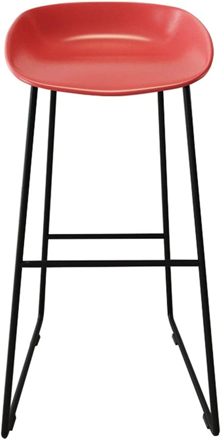 Barstools High Chair Modern Footrest Bar Stools Contemporary Iron High Stool PP Plastics Seat for Kitchen Dining Chair Business Office Restaurant, Black Metal Legs (color   RED, Size   45x45x75cm)