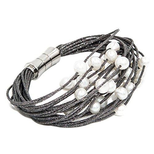 Secret & You Pulsera de Mujer de Perlas cultivadas de Agua Dulce de 6 a 6,5 mm Montadas en cordón de Tela Cierre magnético de Acero Inoxidable