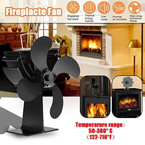 Festnight entilator Ofenventilator für Holz/Log Brenner/Kamin, 4-flügelige Ventilatoren mit effizienter Wärmeverteilung für den Kamin zu Hause