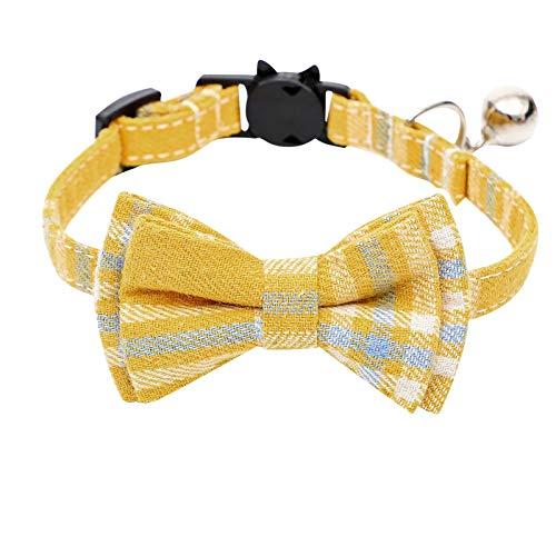 MARIJEE Collar de gato a cuadros de algodón con lazo, ajustable para el día de San Valentín, collar de gato con pajarita y hebilla de liberación de seguridad para gatos y algunos cachorros (amarillo)