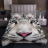 weißer Tiger Tagesdecke 220x240cm Tiertiger Steppdecke für Kinder Jungen Mädchen Lebendiges Leben Weichste Bettwäsche Set Tagesdecke Bettbezug 3St