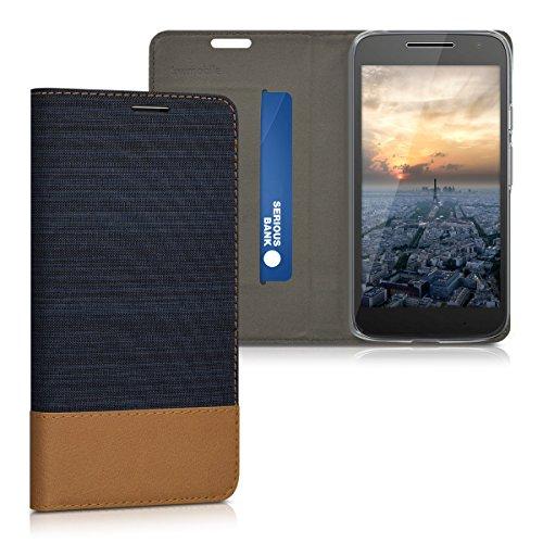 kwmobile Hülle kompatibel mit Motorola Moto G4 Play - Stoff Handy Schutzhülle - Flip Cover Hülle Dunkelblau Braun