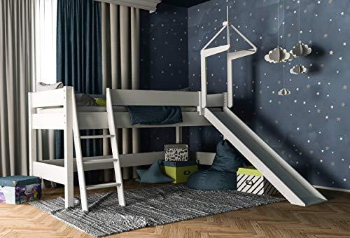 Lit mezzanine blanc avec toboggan 90x200cm pour enfants en hêtre, lit de jeu pour filles et garçons, divisible