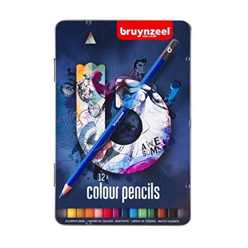 Bruynzeel TeenColored Pencil, 12-Piece, Blue Tin Set