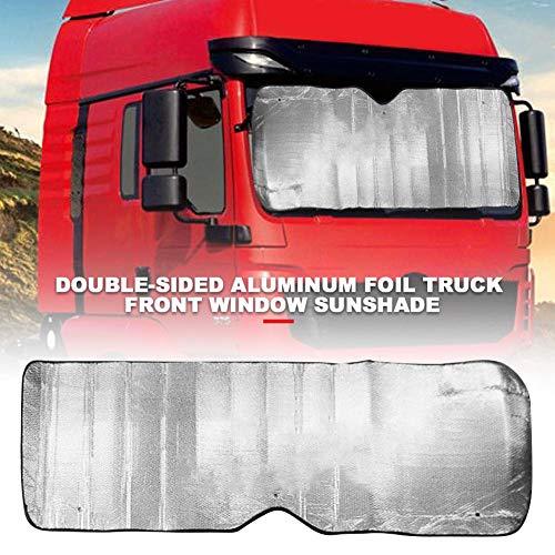 Childlike Faltbares Auto Sonnenschirm Auto Frontscheibenschutz Doppelseitiger Silberner Aluminium-Filmwagen-Sonnenschutz Für LKW/PKW/Bus - 220 X 70 cm