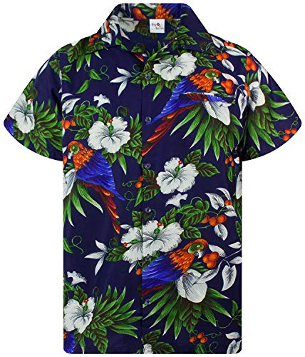 King Kameha Funky Hawaiihemd, Kurzarm, Cherryparrot New, Dunkelblau, XXL